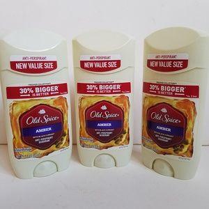 3x OLD SPICE Amber Anti-Perspirant Deodorant Value